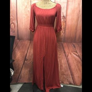 Foevere21  rayon burnt orange maxi  dress  large